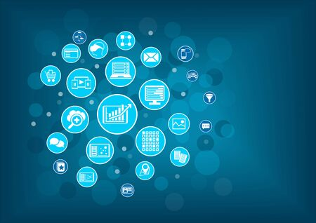 Big data analytics backgroundConcept. Blue circles and bubbles as vector illustration. Illustration