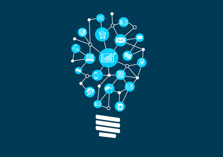 Innovative ideas for big data and predictive analytics in a digital world. Visualization via a light bulb as vector illustration Çizim