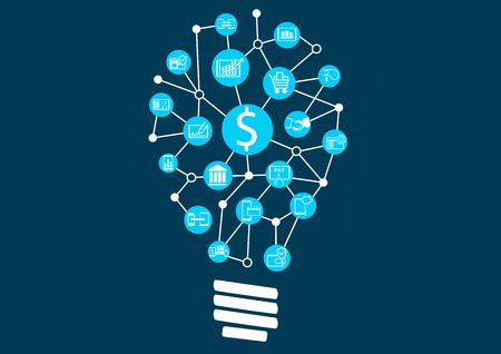 New digital technology within financial services business. Creative Idea finding Represented by light bulb. Stock Illustratie