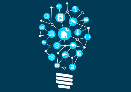 model home: Smart Home Automation as disruptive new business model for digitization. Light bulb with connected devices to represent ideation.