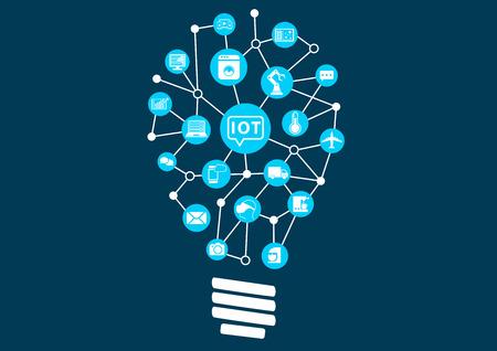 Internet concept choses IOT. Révolution numérique avec la nouvelle technologie en ouvrant de nouvelles possibilités. Ampoule pour représenter trouver de nouvelles idées Illustration