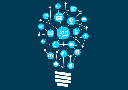 sensors: Internet of Things IOT concept. Digital revolution with new technology opening up new possibilities. Light bulb to represent finding new ideas