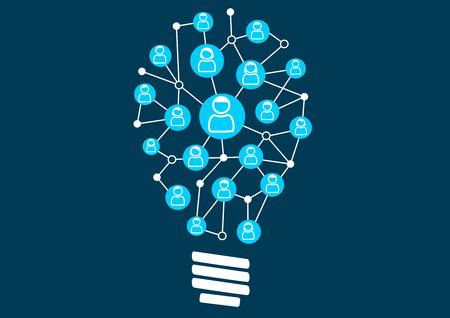 redes de mercadeo: Crowdsourcing y la ideación Social. Enjambre de inteligencia por la comunidad social de un negocio o empresa. Ilustración vectorial de la bombilla para la creatividad.