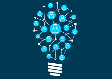 Social crowdsourcing and ideation. Swarm intelligence by the social community of a business or company. Vector illustration of light bulb for creativity.