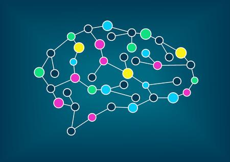 Vektor-Illustration des Gehirns. Konzept der Konnektivität, maschinelles Lernen, künstliche Intelligenz, intelligente Netze und intelligente Systeme.