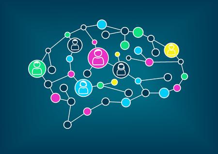 inteligencia: La inteligencia de enjambre o concepto de crowdsourcing. Ilustración del vector de cerebro con conexiones simplificadas entre nodos.