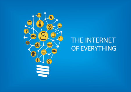 Internet allt IOT koncept. Vektor illustration av anslutna enheter representeras av smarta glödlampa.