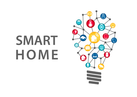 Smart Home Automation concept. Vector illustration of connected household appliances LightLight, refrigerator, washing machine and smart thermostat.