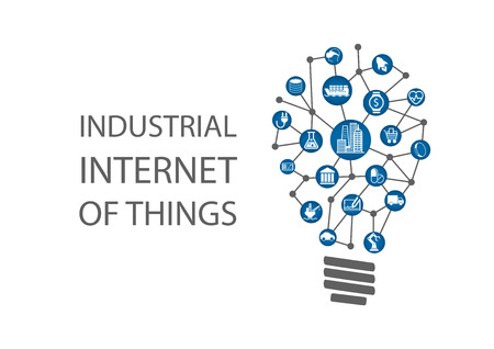 Industriële Internet of Things Industry 4,0 vector illustratie. Nieuwe zakelijke ideeën met behulp van digitale technologie concept.