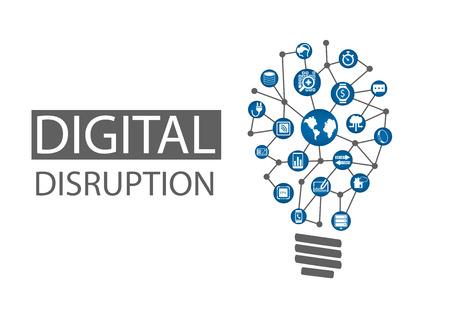 Digitální narušení vektorové ilustrace. Koncepce rušivých podnikatelských nápadů, jako je výpočetní všude, analytiky, inteligentní stroje, oblačnosti, web-scale IT, mobility, internet věcí IOT