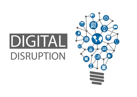Digital disruption vector illustration. Concept of disruptive business ideas like computing everywhere, analytics, smart machines, cloud, web-scale IT, mobility, Internet of Things IOT Illustration