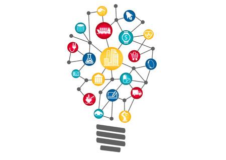 Industriële Internet of Things concept vertegenwoordigd door de gloeilamp. Concept van ontwrichtende nieuwe zakelijke ideeën met behulp van nieuwe technologie.