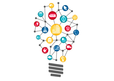 digitization: Industrial Internet of Things concept Represented by light bulb. Concept of disruptive new business ideas by using new technology.