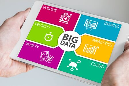 background information: Hands holding tablet with Big Data Dashboard. Modern information technology background. Stock Photo