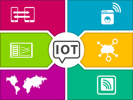 digitization: IOT Internet of Things vector illustration template. Icons for connected devices, sensors, appliances. Illustration