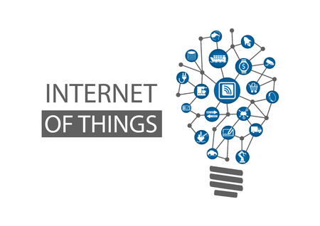 Internet of Things IOT concept background. Vector illustration representing new innovative ideas within Information Technology Çizim