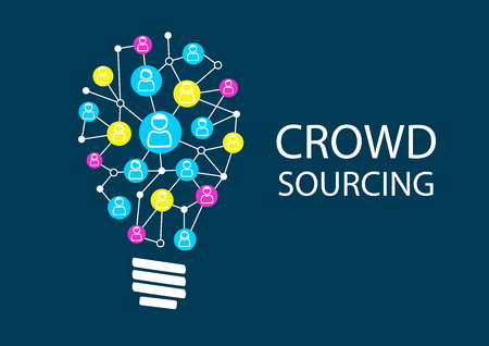 menschenmenge: Crowd Sourcing, neue Ideen über soziale Netz Brainstorming. Ideation für die Suche disruptive Geschäftsmodelle durch Glühbirne vertreten.