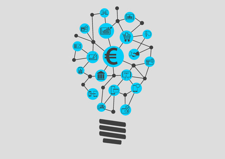 business services: New digital technology within financial services business. Creative Idea finding Represented by light bulb. Illustration