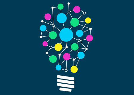 Vector illustration of light bulb with network of different objects or ideas. Concept of ideation or creativity. Illustration
