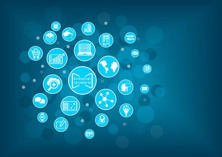 비즈니스의 디지털화의 개념입니다. 모바일 기기, 메시징, 분석, 산업, 비즈니스 모델과 같은 디지털 비즈니스와 관련된 다양한 아이콘 벡터 일러스트  일러스트