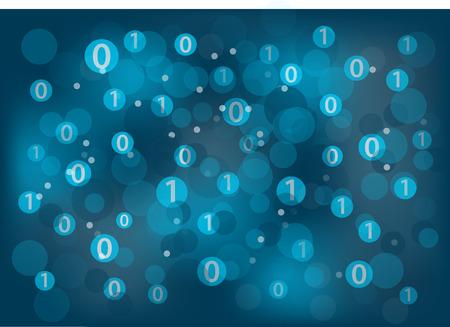 Numérique et le concept de numérisation illustration vectorielle arrière-plan. Concept de la technologie de l'information et de la lumière bleu foncé. Vecteurs