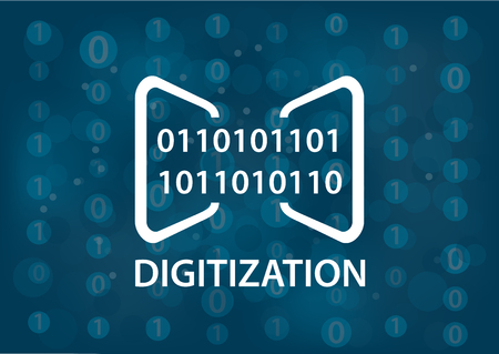digitization: Digitization concept vector illustration. Digital background with binary messages. Illustration