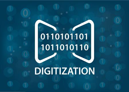 dataflow: Digitization concept vector illustration. Digital background with binary messages. Illustration