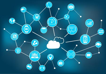 globally: Cloud computing concept as vector illustration