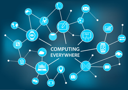 endpoint: Computing Everywhere concept as vector illustration