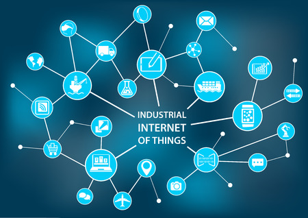 industry: Industrial Internet of Things Industry 4.0 concept as vector illustration