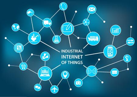 industria quimica: Internet de las Cosas Industrial Industria concepto 4.0 como ilustraci�n vectorial
