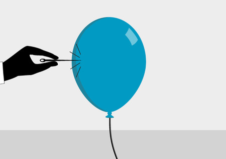 About to burst the bubble. Hand with needle and balloon. Vector illustration for financial crisis concept