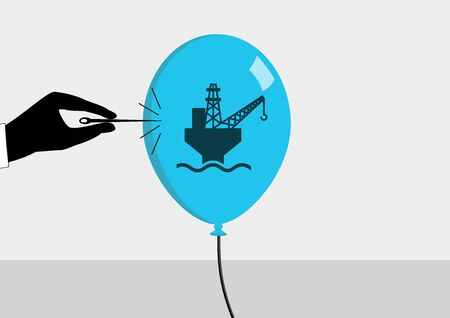 decline: Oil crisis and declining oil price concept. Vector illustration of hand and needle bursting a bubble or balloon with symbol for oil production.