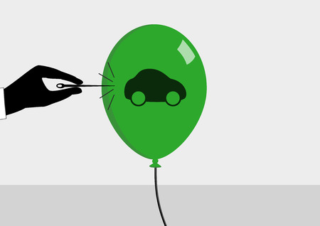 china business: Concept of declining car sales and automotive crisis. Vector illustration in flat design of needle bursting the bubble.
