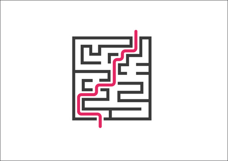route master: Overcoming business challenges and obstacles. Vector illustration of maze labyrinth with red growth curve.