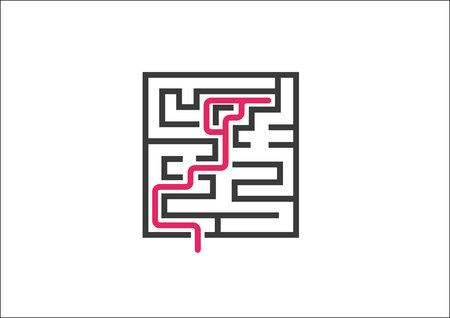 challenges: Unable to overcome business challenges and obstacles. Vector illustration of maze labyrinth as a concept for not solving a problem and Dead End.