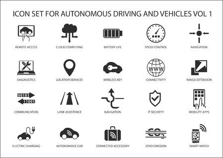 prototipo: Auto de conducción y vehículos autónomos icono conjunto de vectores.
