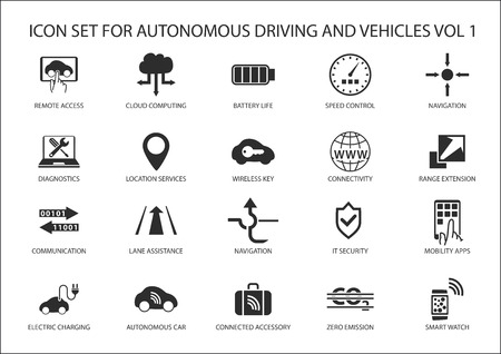 Self driving and autonomous vehicles vector icon set. Illustration