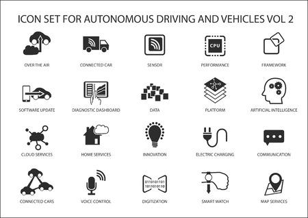 piloto: Auto de conducción y vehículos autónomos icono conjunto de vectores.