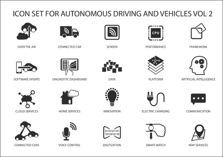 Self driving and autonomous vehicles vector icon set. Çizim