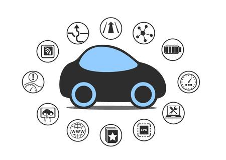 manejando: Auto coche de conducción y el concepto de vehículo autónomo. Icono del coche sin conductor con sensores como Asistencia en carril, Head Up Display, conectividad inalámbrica.