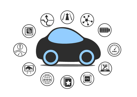 Self driving car and autonomous vehicle concept. Icon of driverless car with sensors like Lane Assistance, Head Up Display, Wireless Connectivity. Illustration