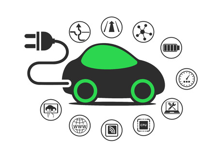 enable: Electric car and electric vehicle concept as vector illustration. Car with power plug to enable electric charging