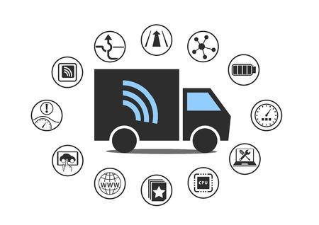 Connected Car-Technologie für die Logistik und Lastwagen. Vektor-Illustration.