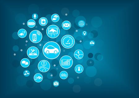 接続や自律走行車のための破壊的な技術です。センサー、接続されているデバイスはベクトル イラストです。