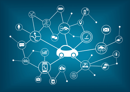 taşıma: Bağlı araba vektör çizim. Çeşitli cihazlara sahip araçlarda bağlanma kavramı.