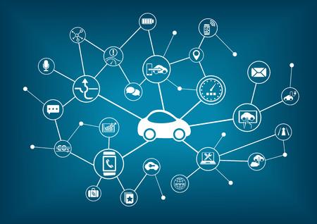 car: Connected auto illustrazione vettoriale. Concetto di collegamento ai veicoli con diversi dispositivi. Vettoriali