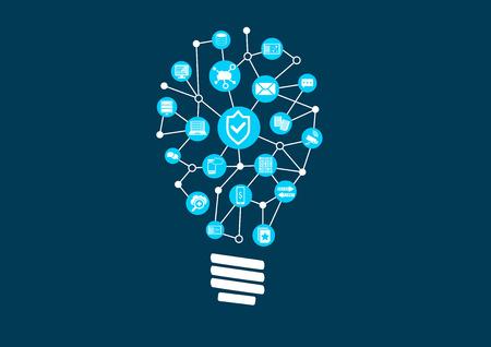 接続されているデバイスの世界では IT セキュリティおよび情報技術の保護の技術革新。暗い背景のベクトル図