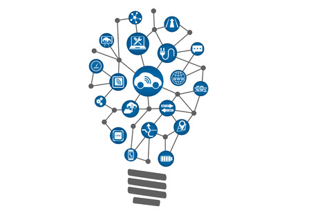 Connected Car Concept AS Technology Innovation. Light bulb of connected devices within auto-industry.