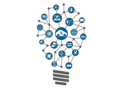 Connected Car Concept AS Technology Innovation. Glühlampe der angeschlossenen Geräte innerhalb des Autoindustrie.